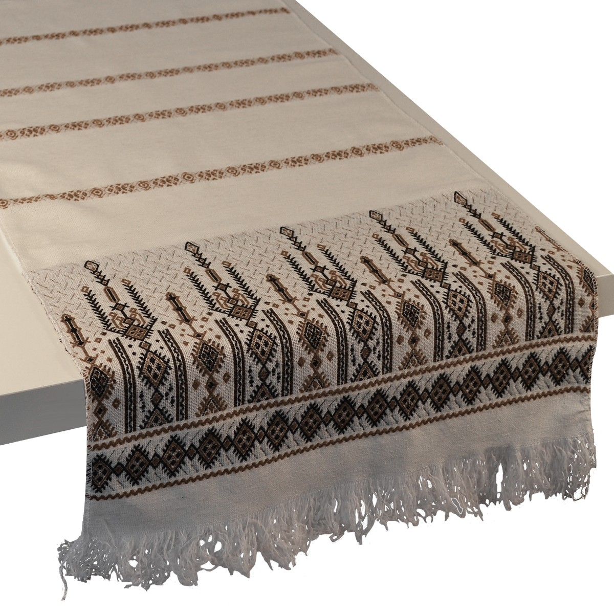 Candlestick Jacquard Table Runner, Brown, S