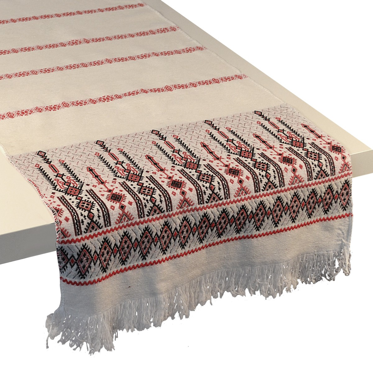 Candlestick Jacquard Table Runner, Red, S