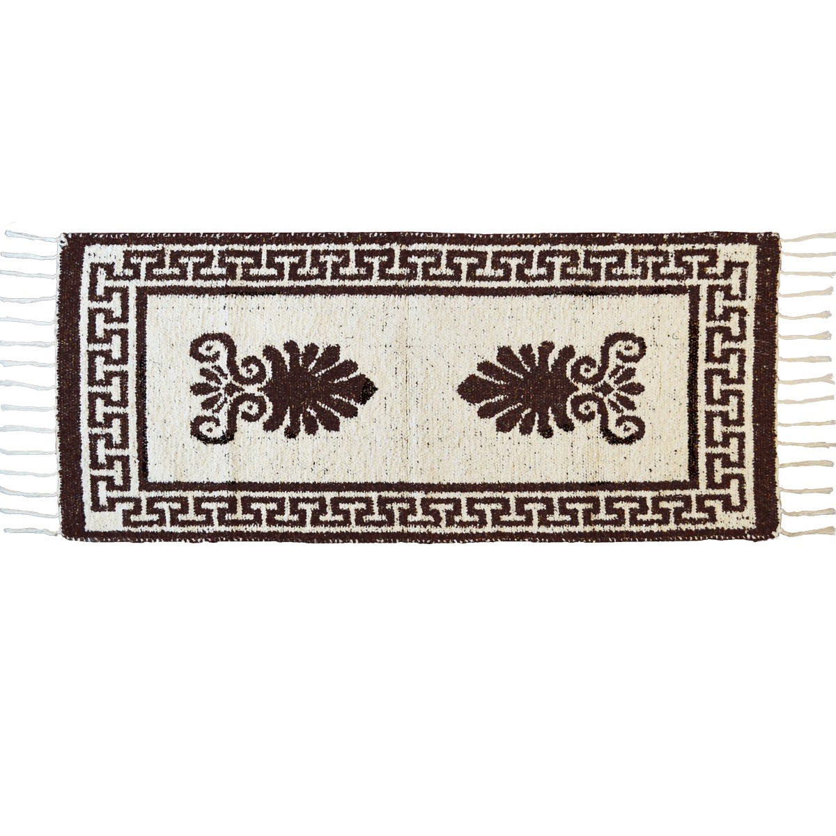 Akrokeramo Two Sided Cotton Rug, Brown