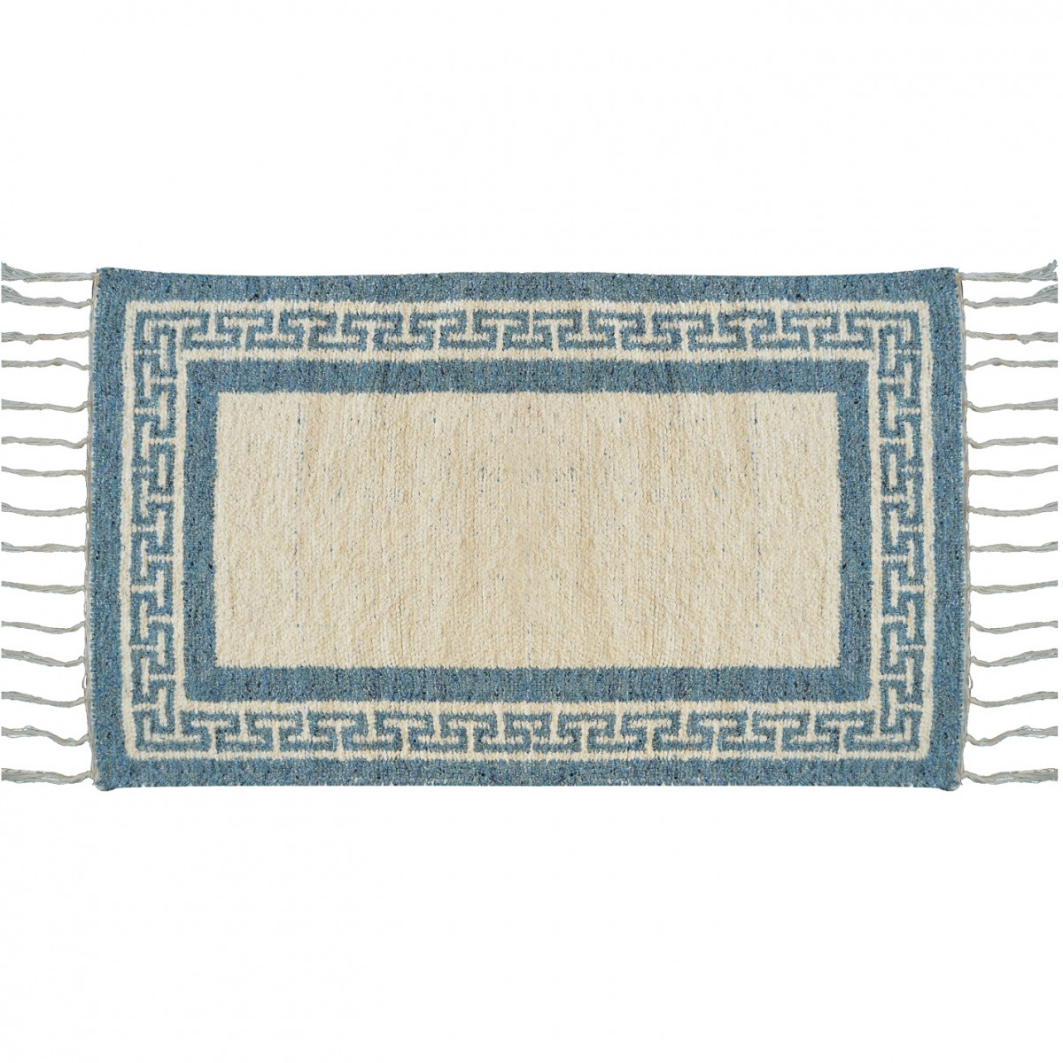 Greek Key Two Sided Cotton Summer Carpet Light Blue 1