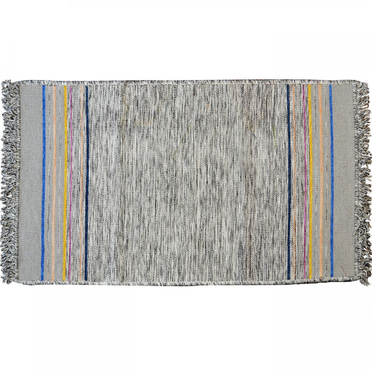 Irregular End Stripes Rug, Pebbles Grey