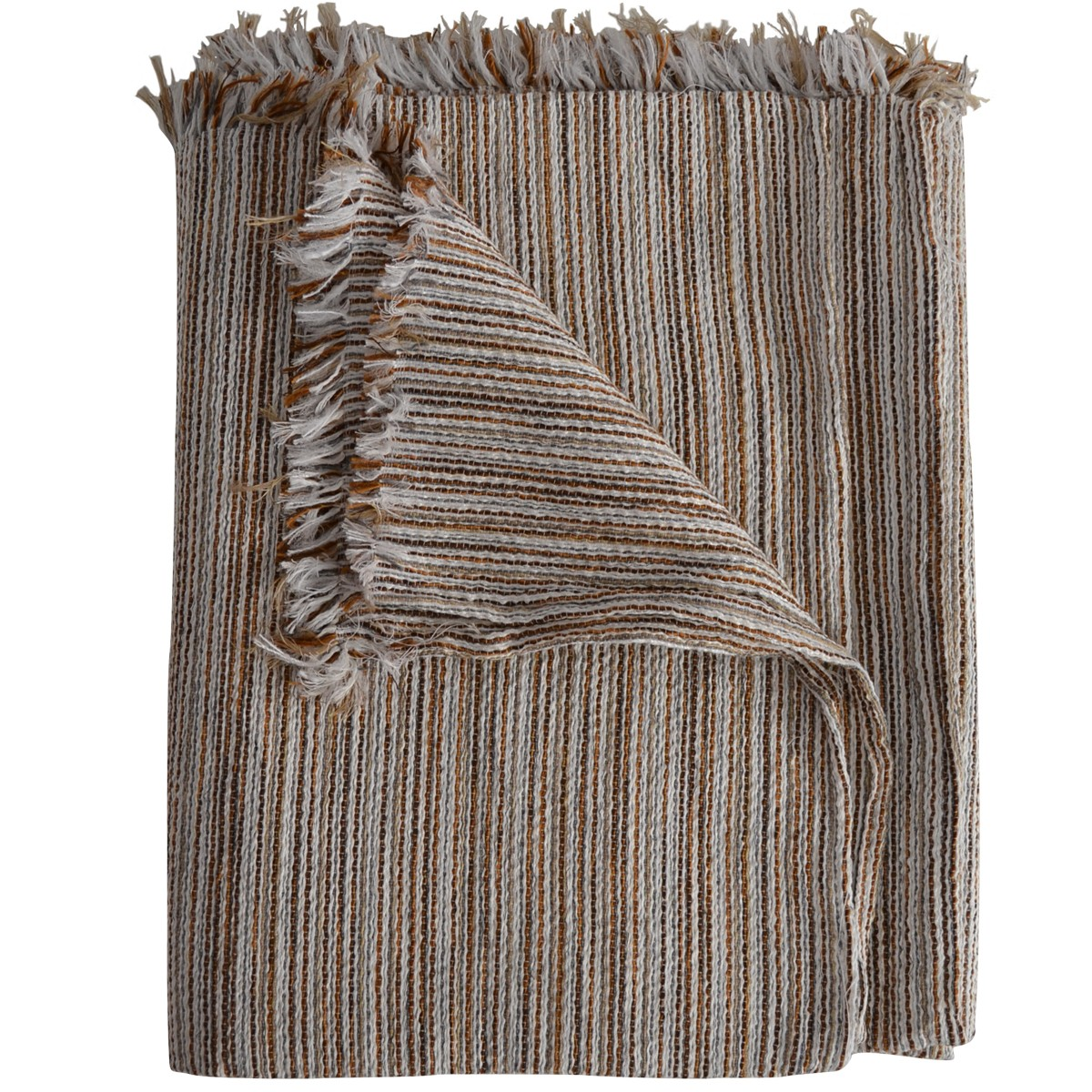 Blanket with stripes, Brown / Multi