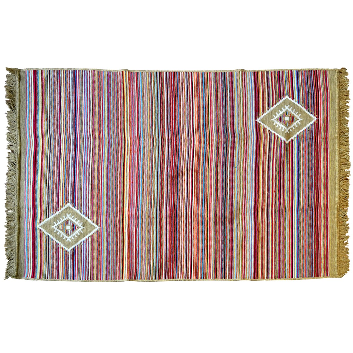 Bohemian Rug with Stripes, Beige / Multi