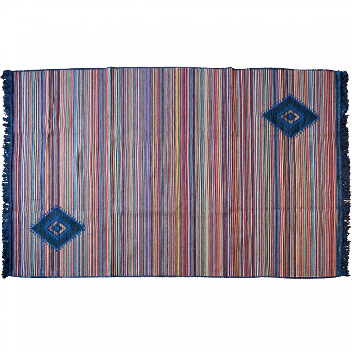 Bohemian Rug with Stripes Blue and Multi