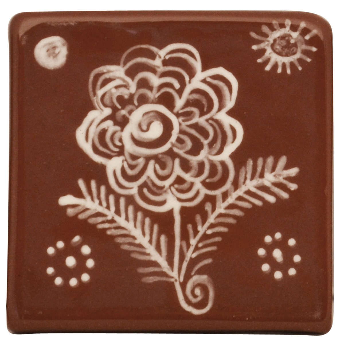 White Flower, Handpainted Ceramic Tile or Coaster