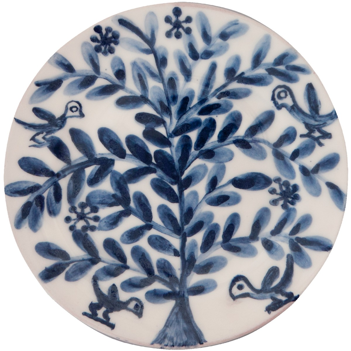 Hand painted Decorative Blue and White Plates-Birds on Flower II-1