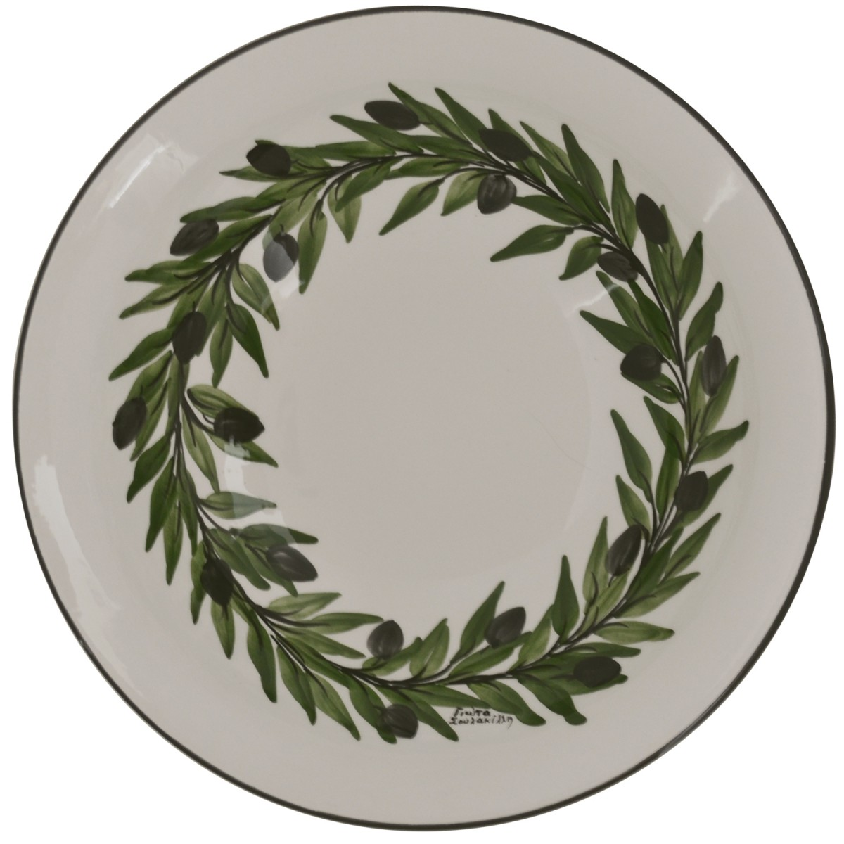 Large decorative bowls for tables-Olive wreath-1