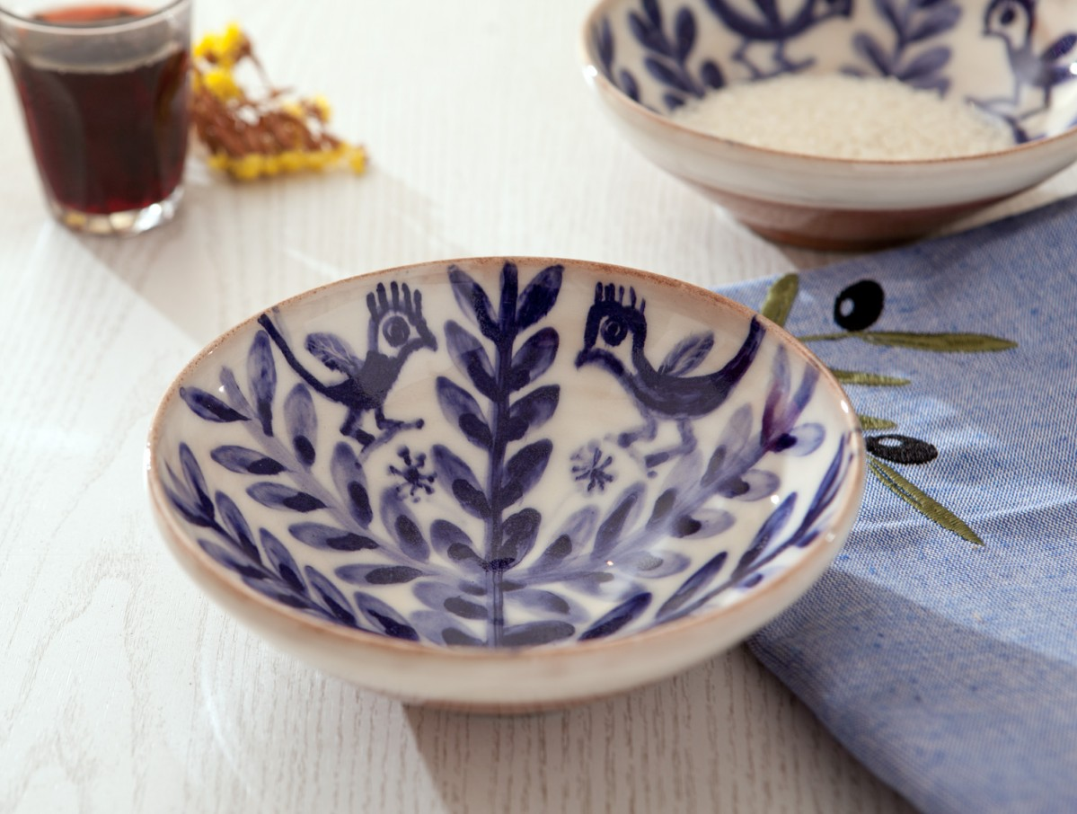Ceramic Serving Bowls-Birds on Flower-A