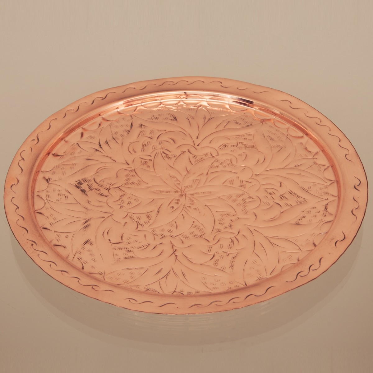 Copper Tray Engraved A