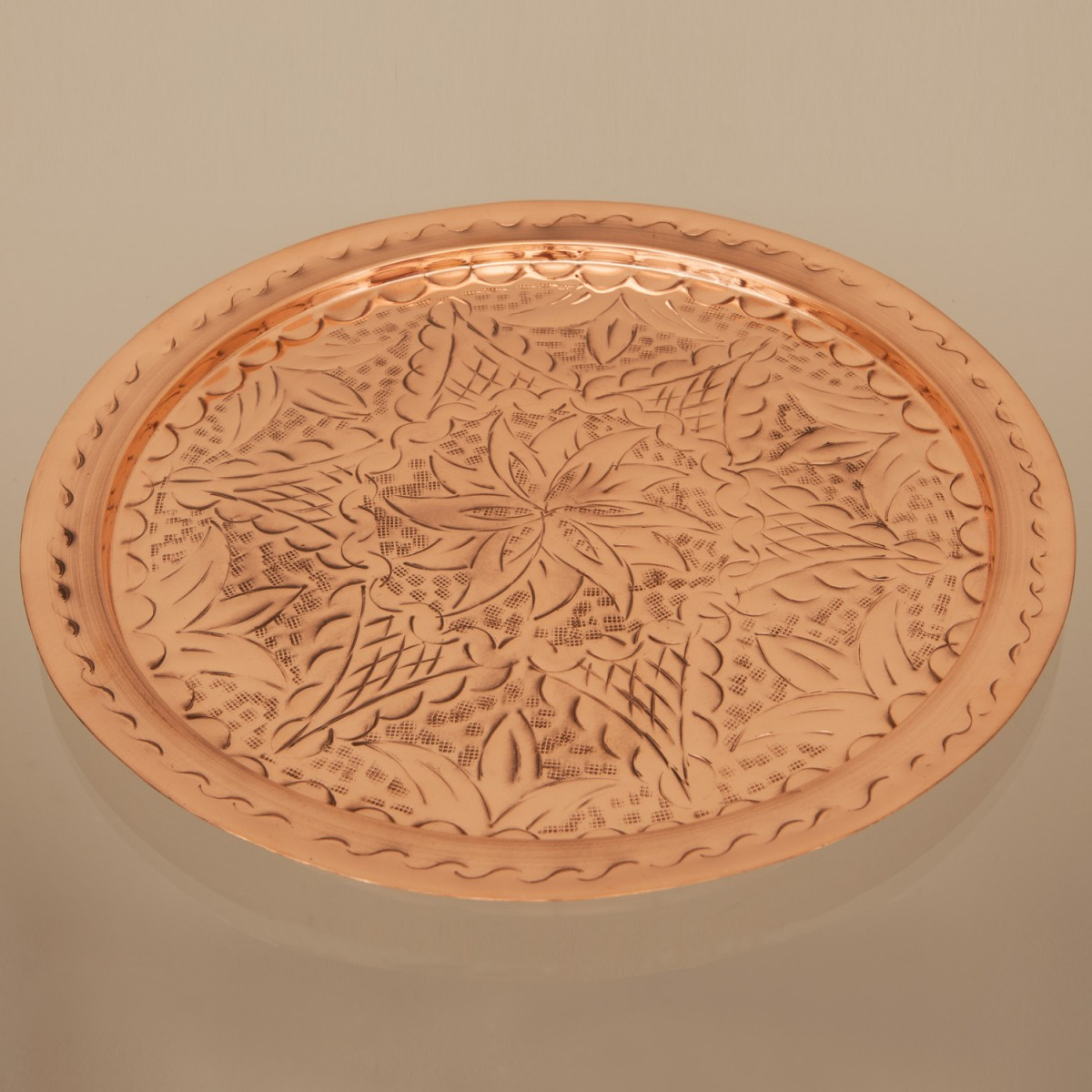 Copper Tray Hand Engraved A