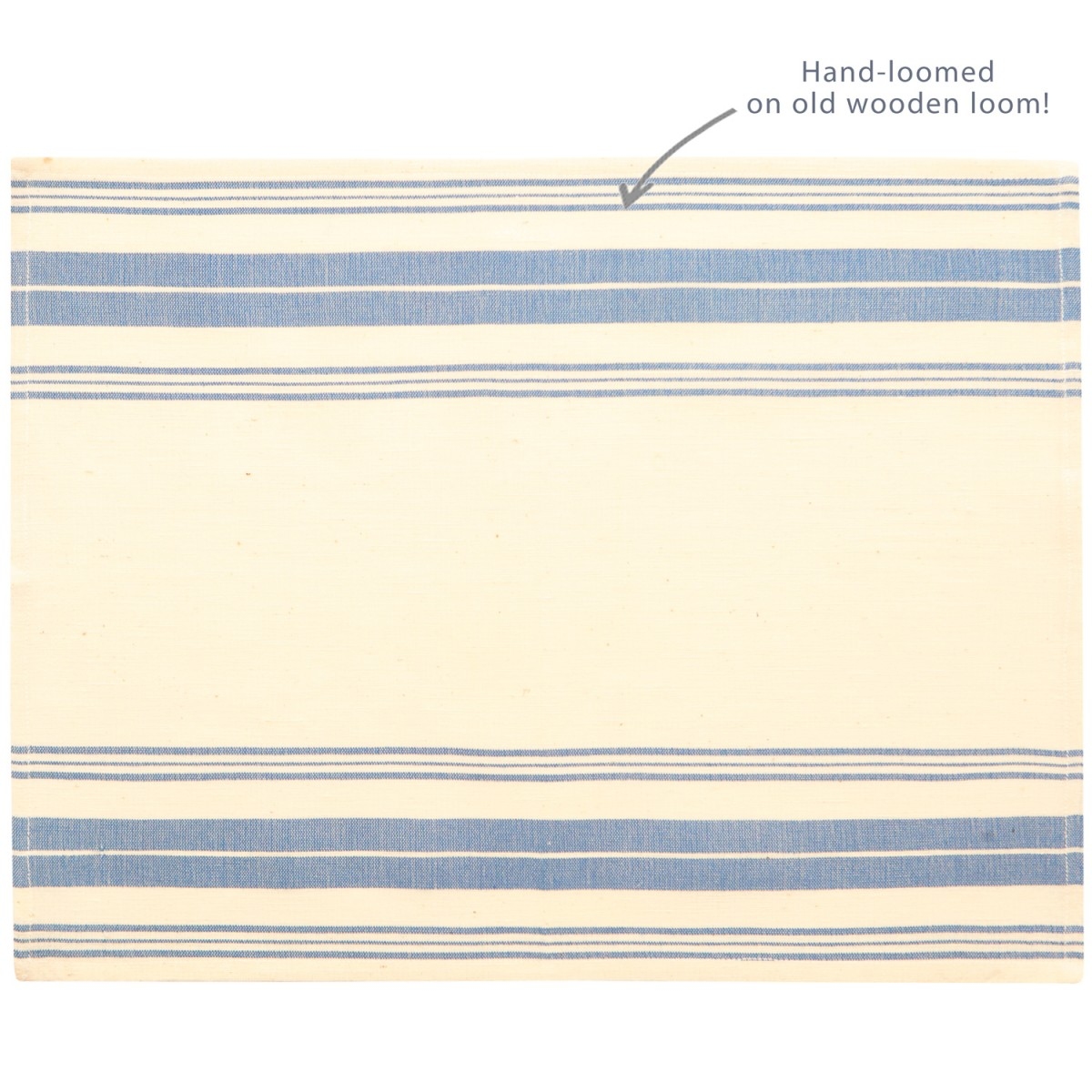 Hand-loomed Placemat, Stripes, Aegean Blue-1