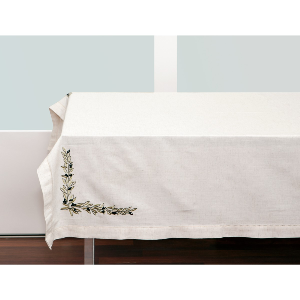 Embroidered Olives Linen Tablecloth-1