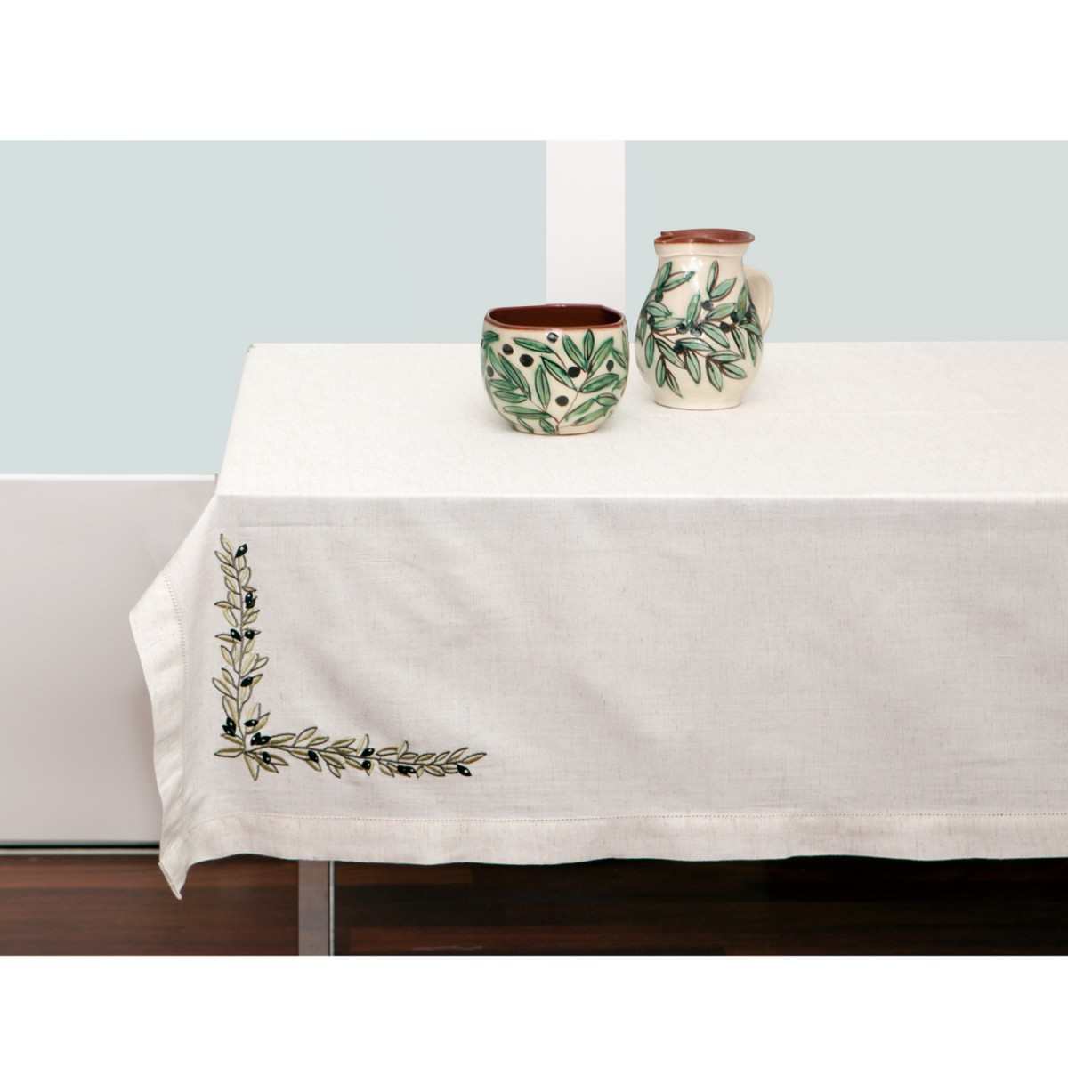 Olives Embroidered Tablecloh, 140X240-1