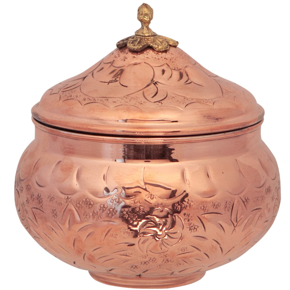 Decorative Copper Bowl with Lid-1