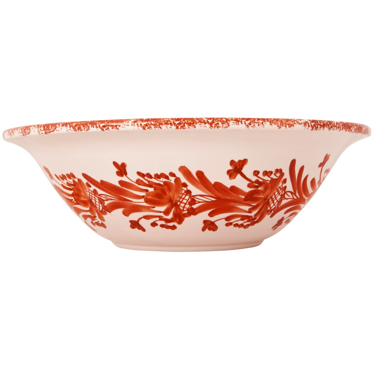 Large pottery bowls | Hand Painted Pottery | Skyriana Flower Wreath Terracotta-1