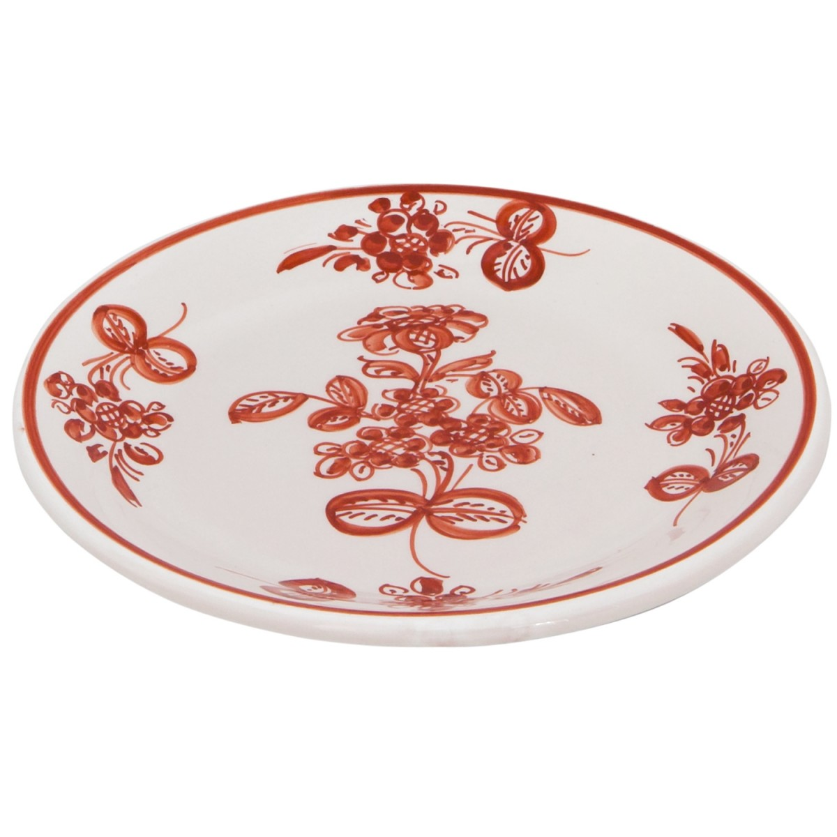 Hand_Painted_Ceramic_Dessert_Decorative_Plate-Flower_I_Terracotta-Skyriana_Plates-1