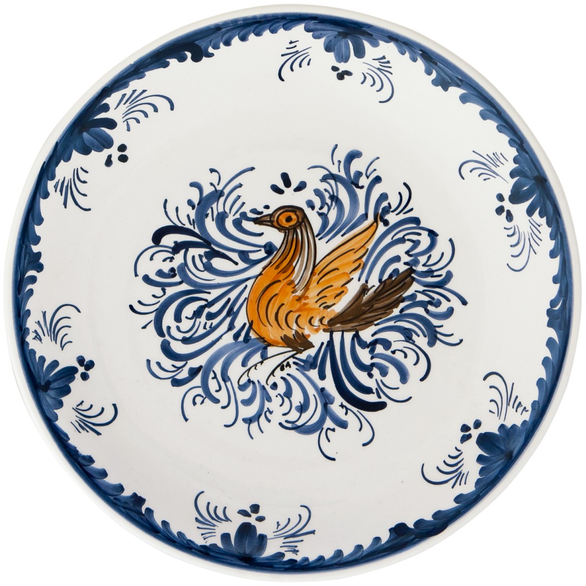Hand_Painted_Ceramic_Dinner_Decorative_Plates-Eclectic_Bird-Blue-White-1