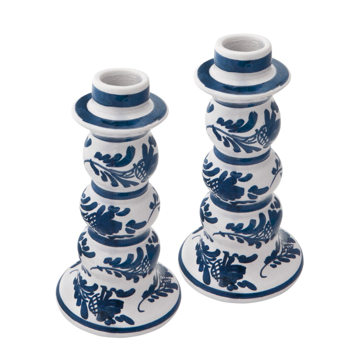 Skyriana Candle Holders, Ceramic Blue and White Candle holders - 1