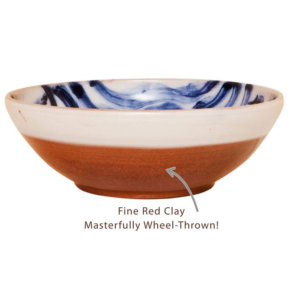 Hand Painted Serving Bowls -Fish on waves-1
