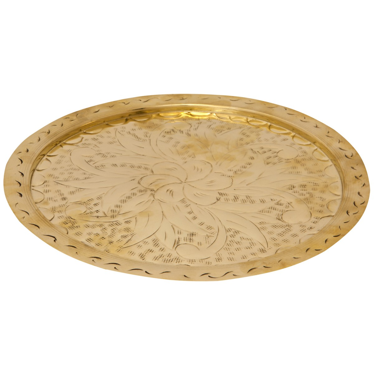 Hand Engraved Brass Tray - 1