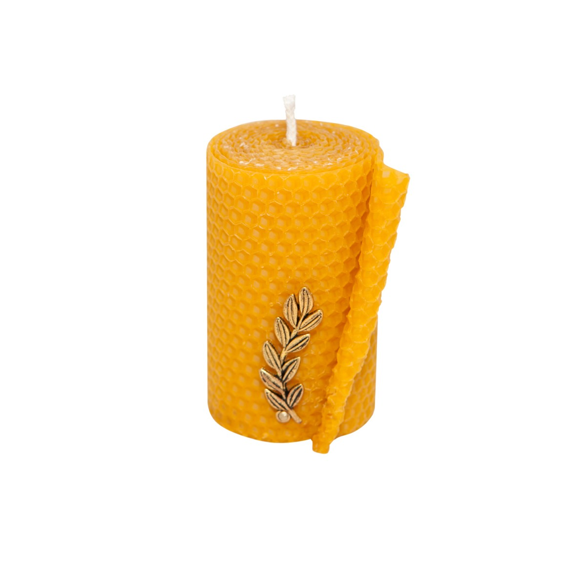 Natural Beeswax Candle with Bronze Leaf - 1