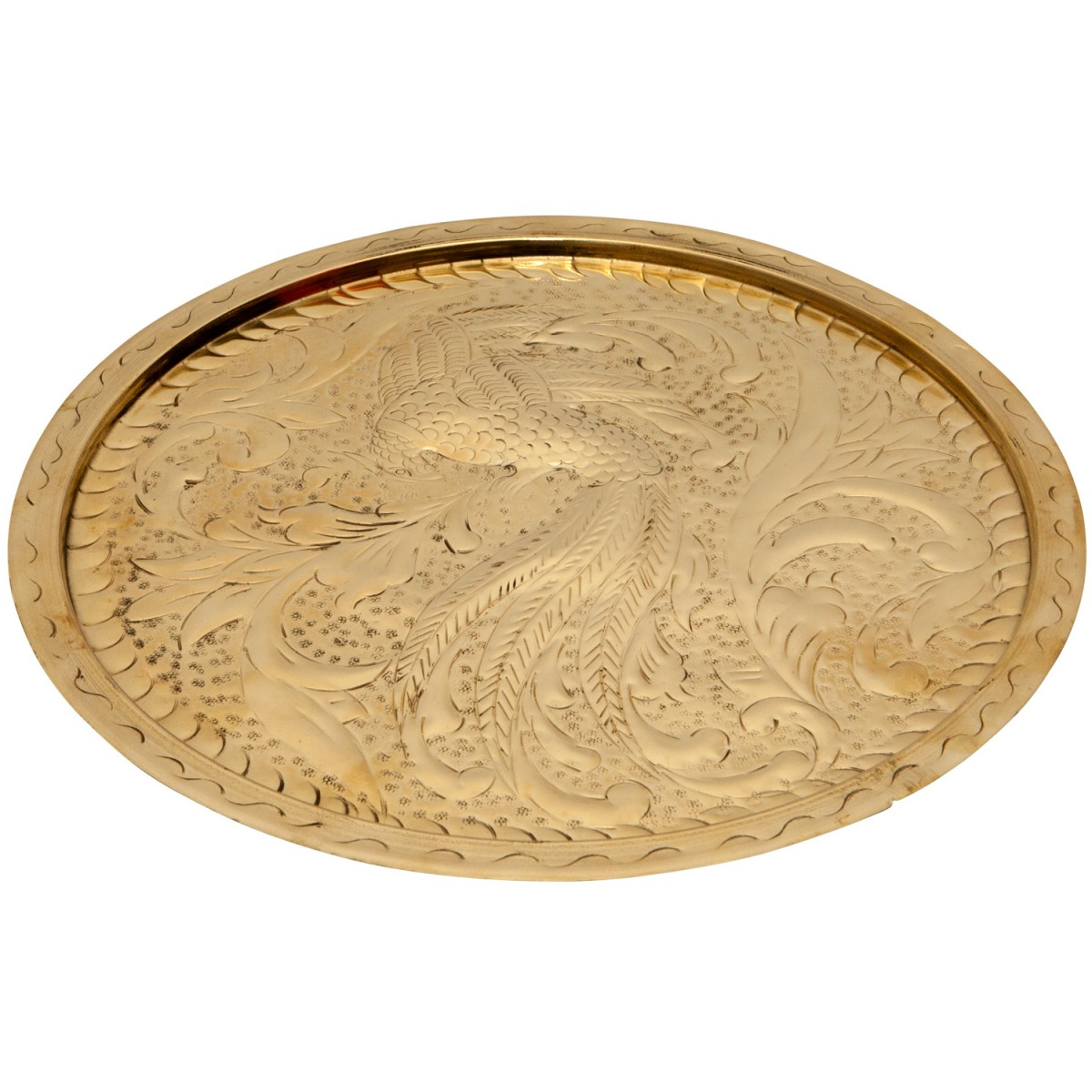 Peacock Embossed Brass Tray-1