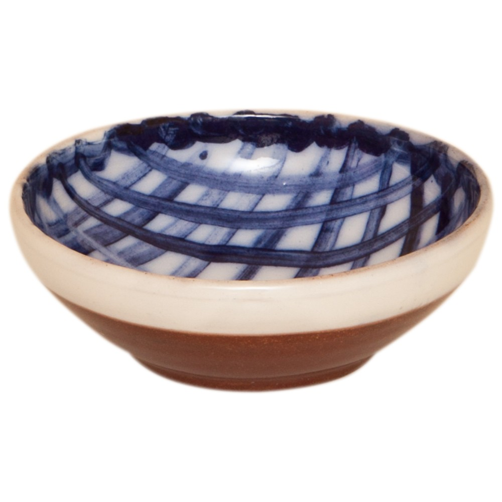 Pottery Bowls Handmade-Blue White Bowl-Plaid-1