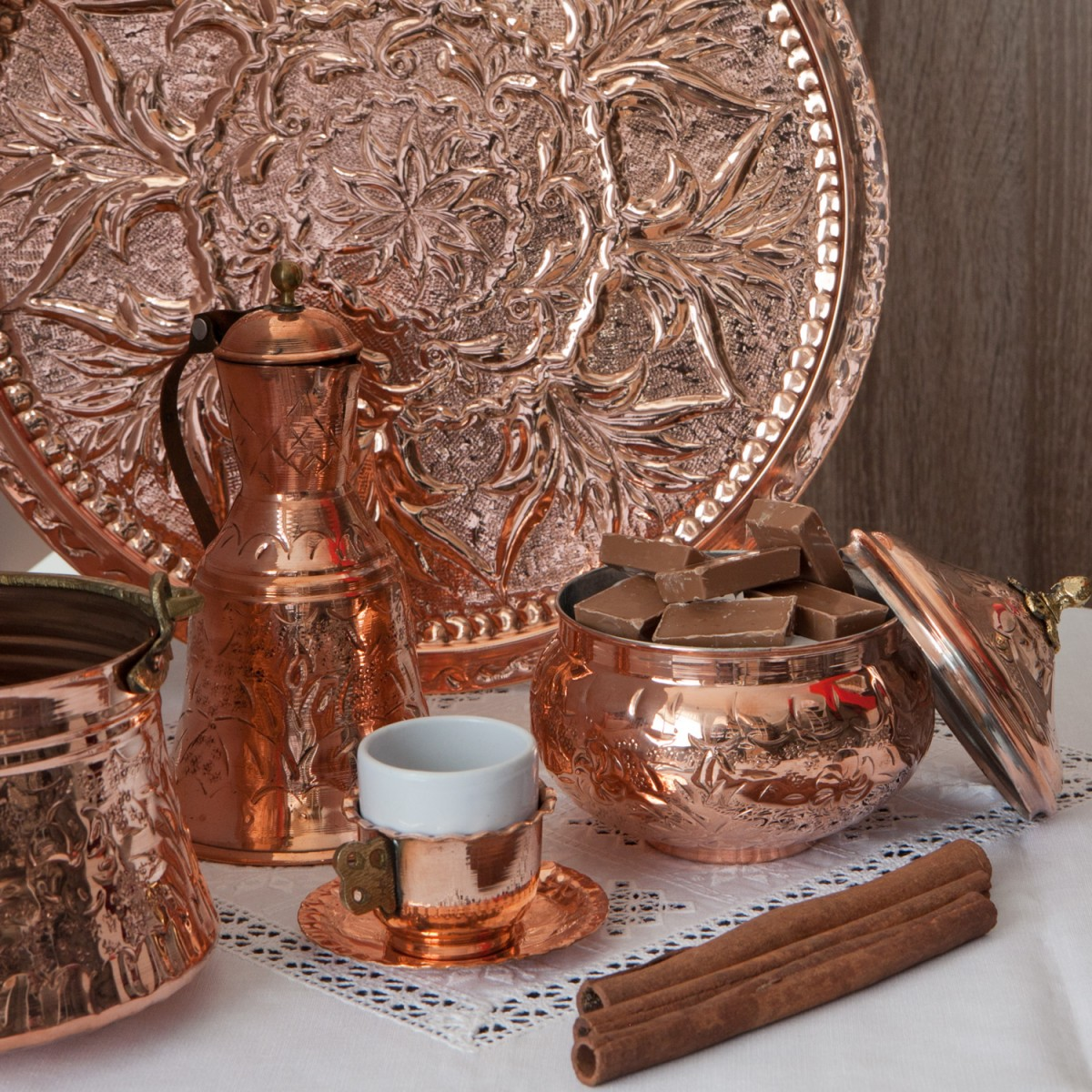 Hammered Copper Decorative Pitcher-1