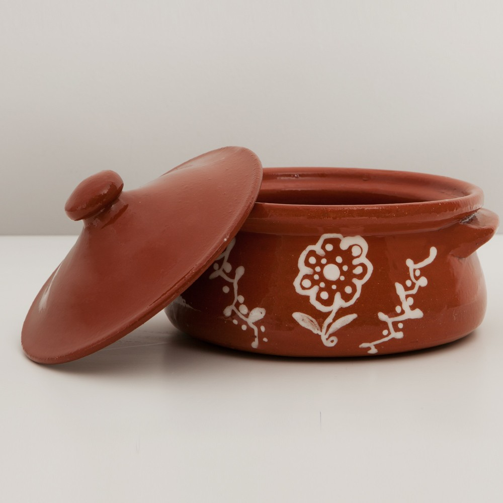 Small Casserole Dish with Lid, Hand-Painted-1