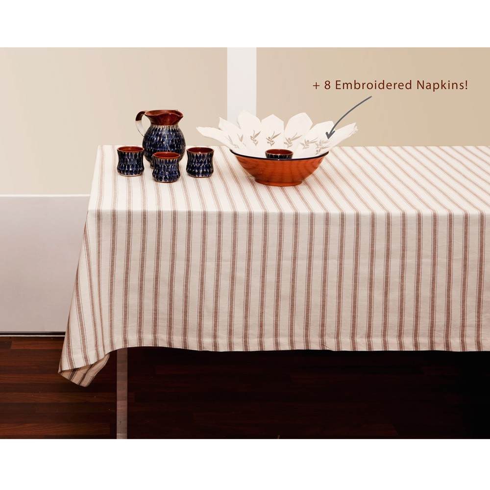 Striped Tablecloth and Linen Napkins-Set-1