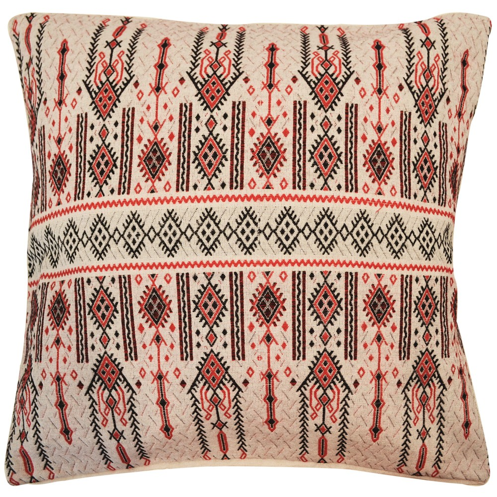 Candlestick Jacquard Cotton Cushion Cover, Red