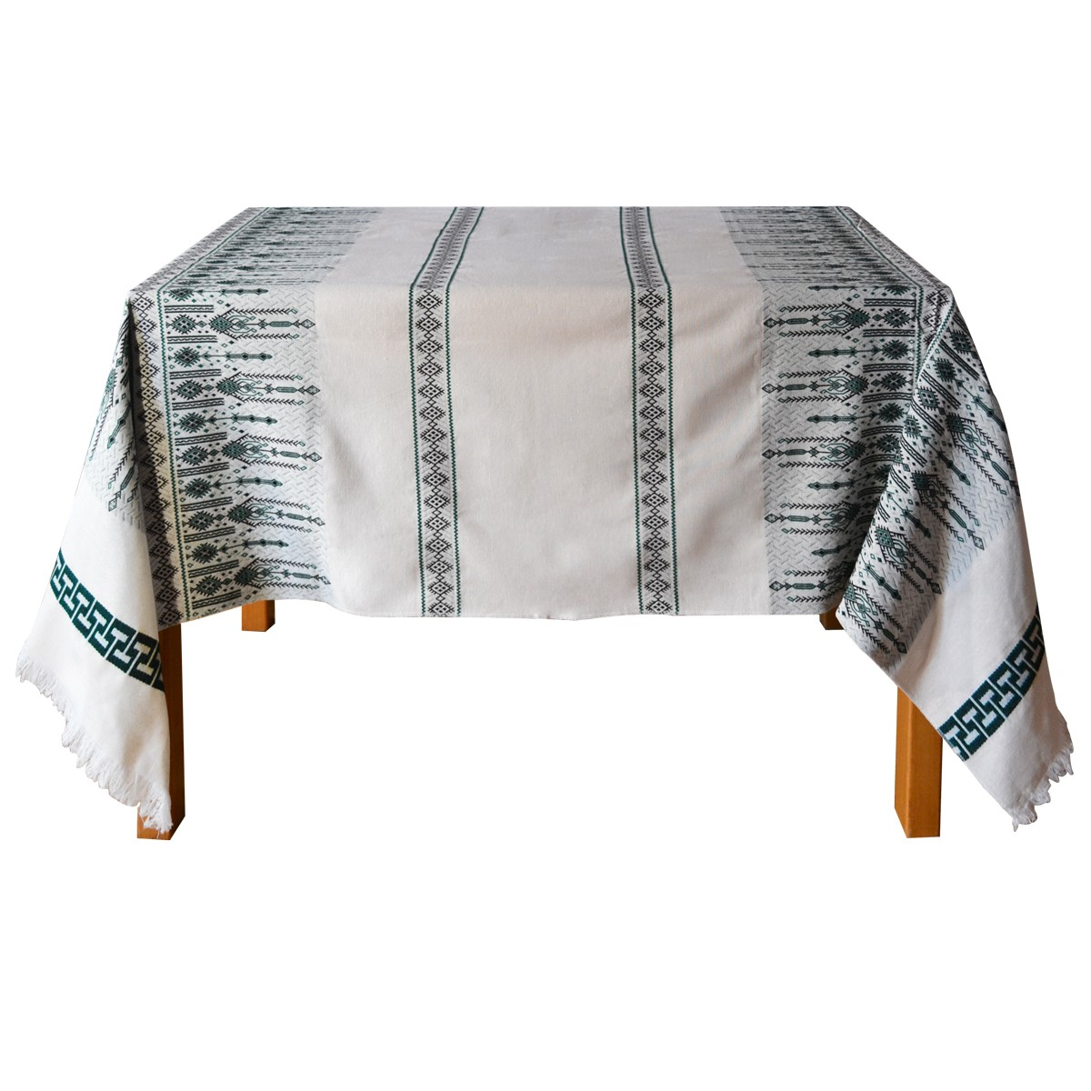 Candlestick Jacquard Tablecloth, Green