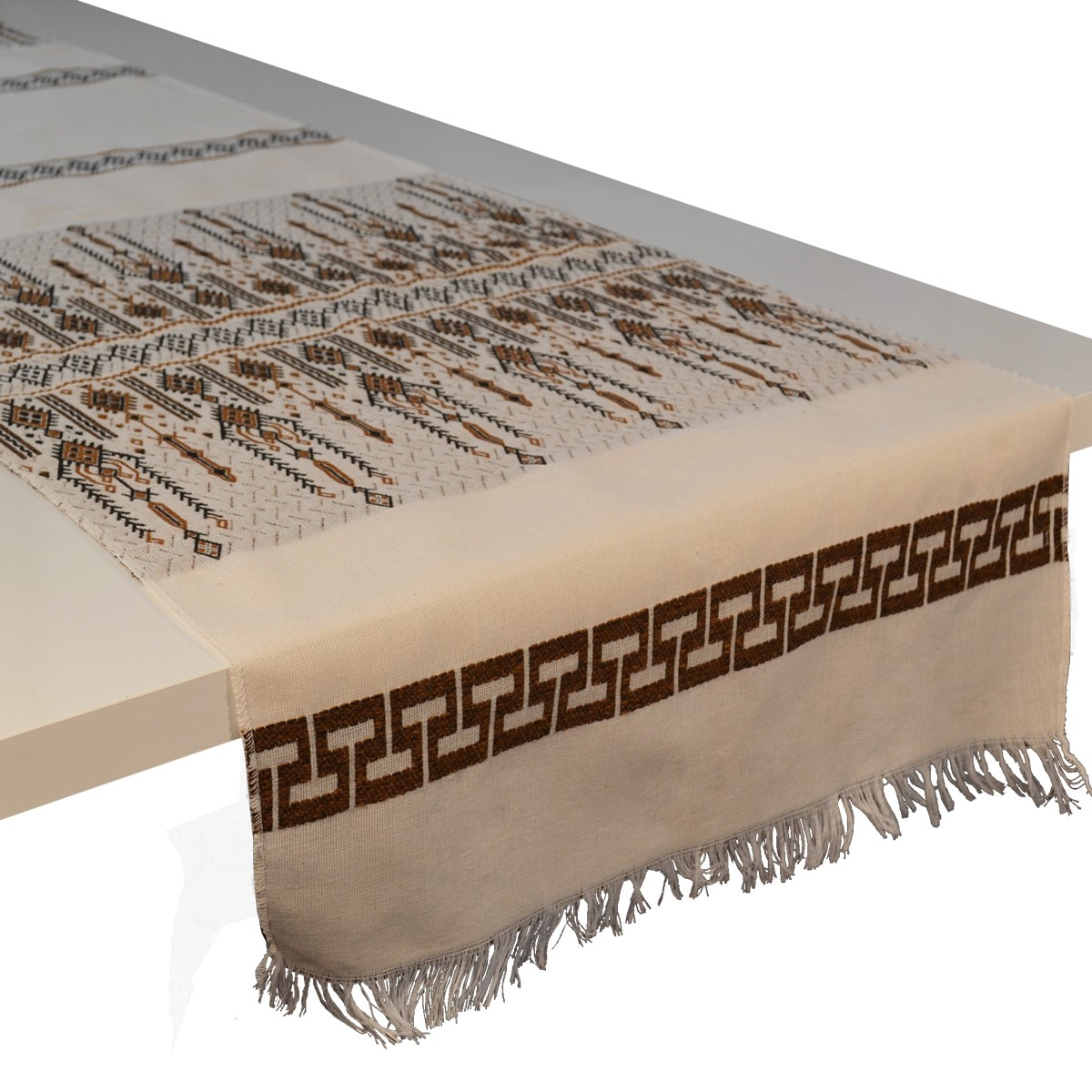 Candlestick Jacquard Table Runner, Brown, L