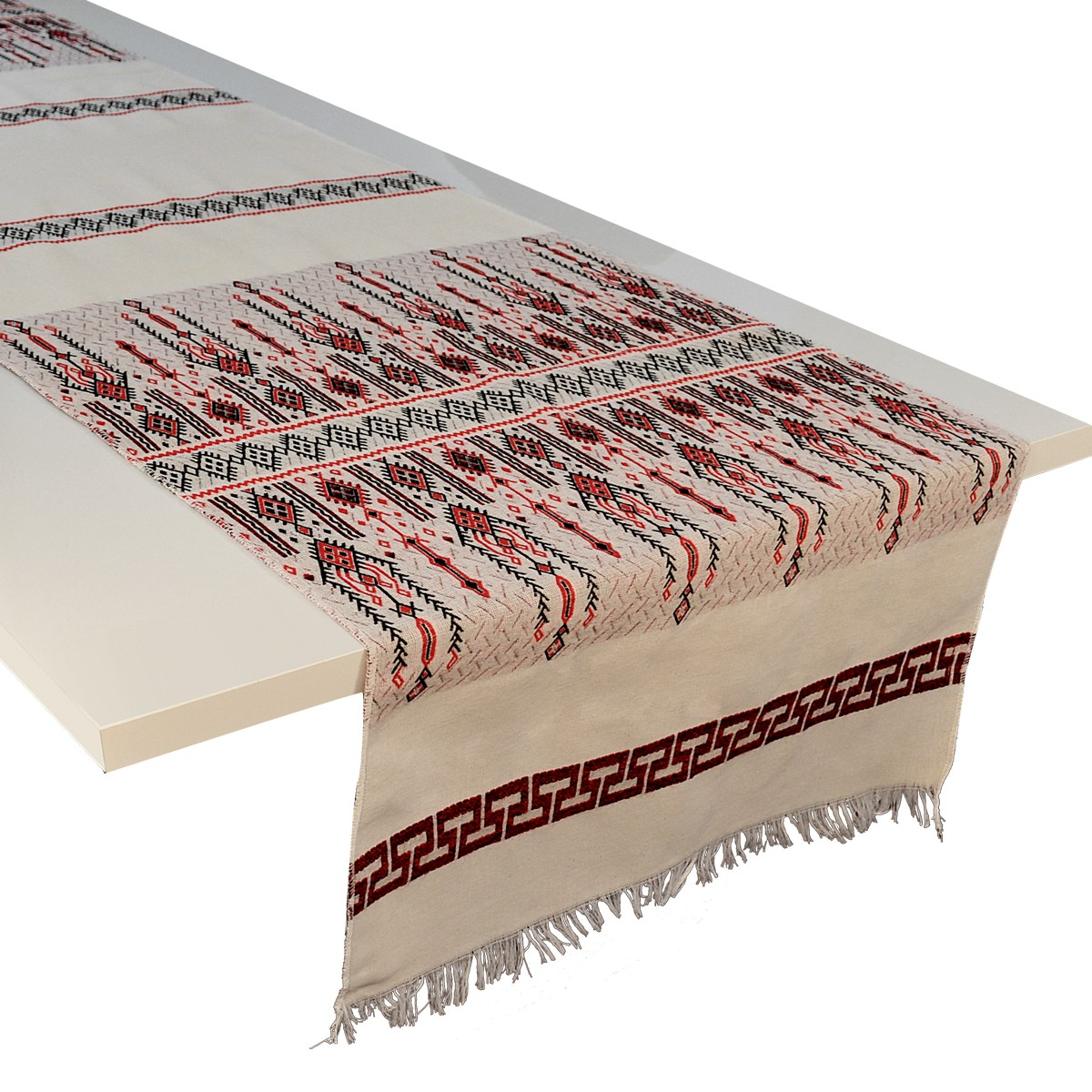 Candlestick Jacquard Table Runner, Red, L