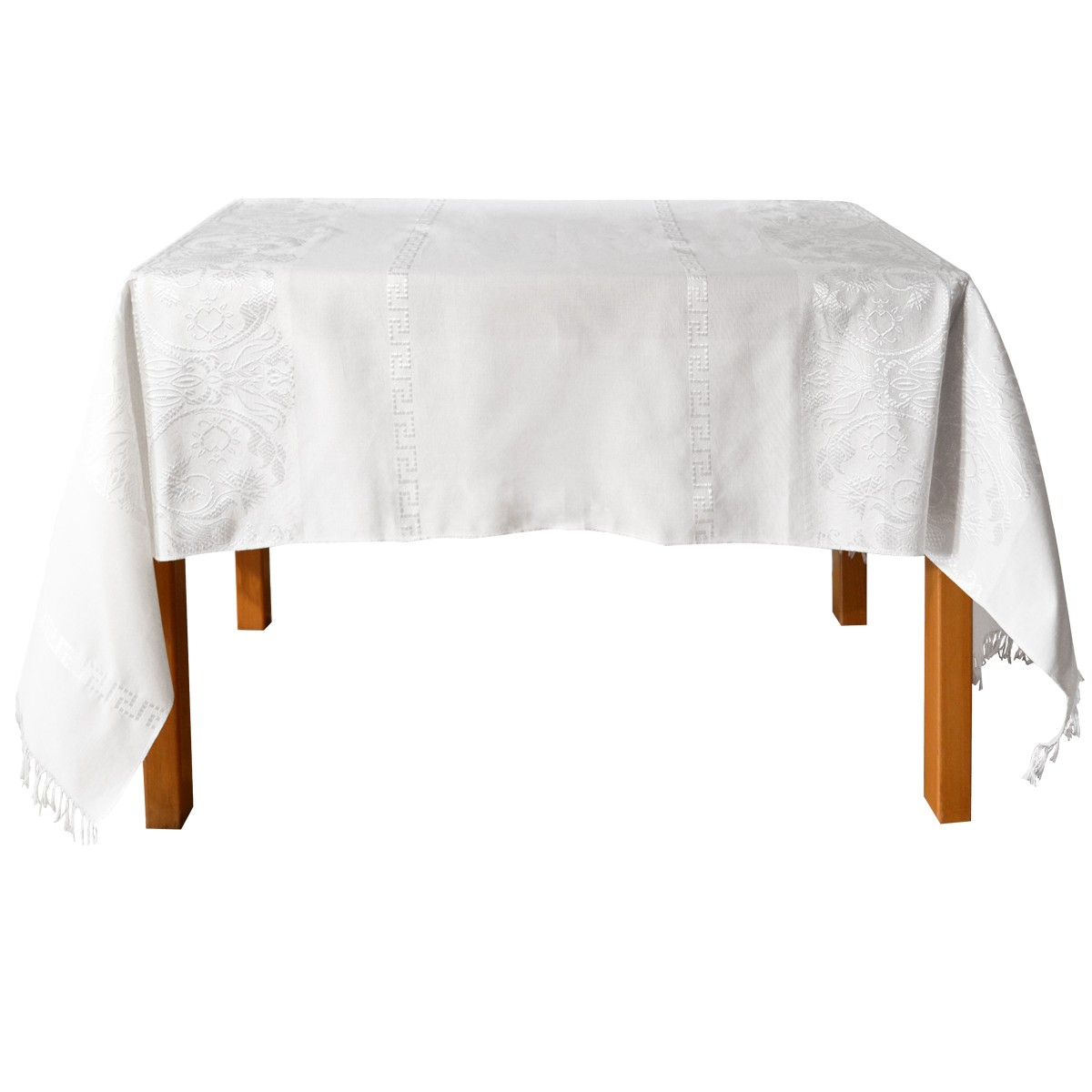 Eagle Jacquard Tablecloth, White, 150X220