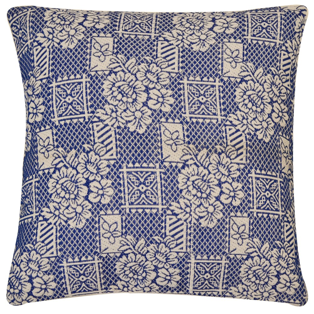Traditional Flowers & Squares Jacquard Cotton Cushion Cover