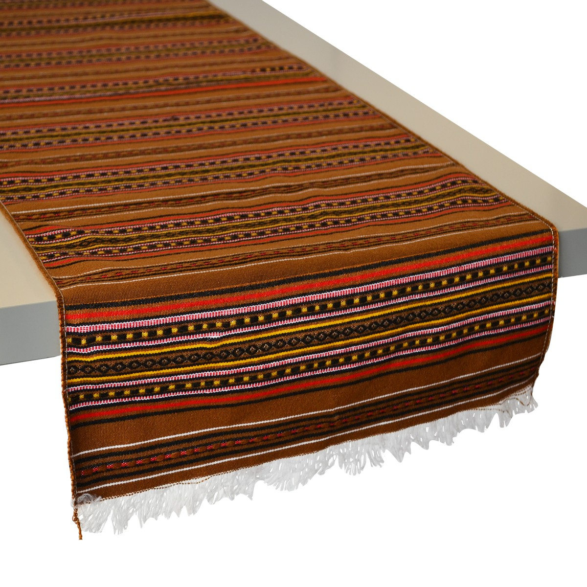 Kythnos Jacquard Table Runner, Brown, L
