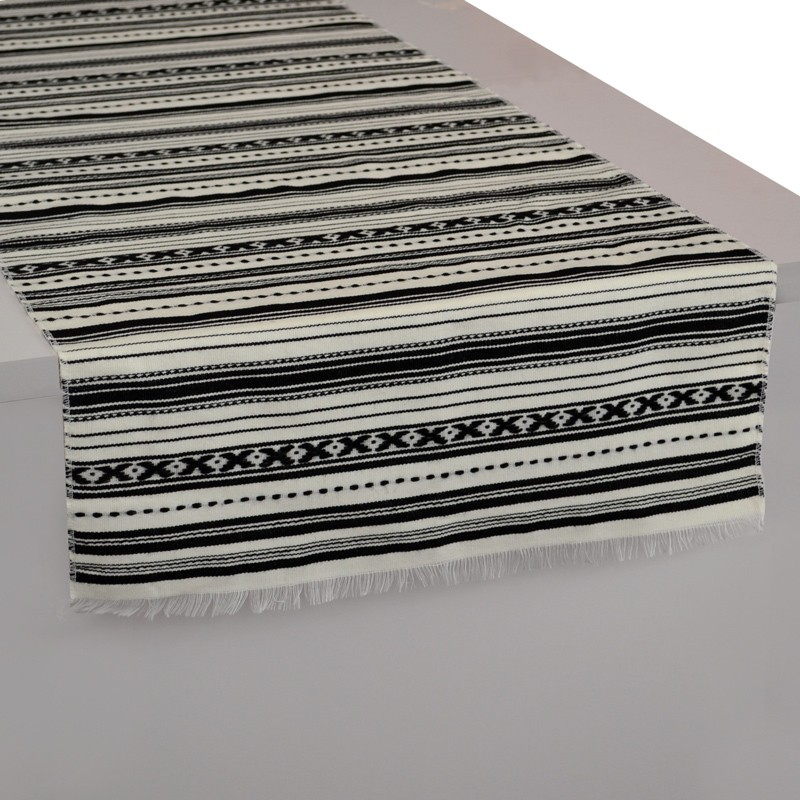 Stripes_Ethnic_Table-Runner_Black&White-Paros