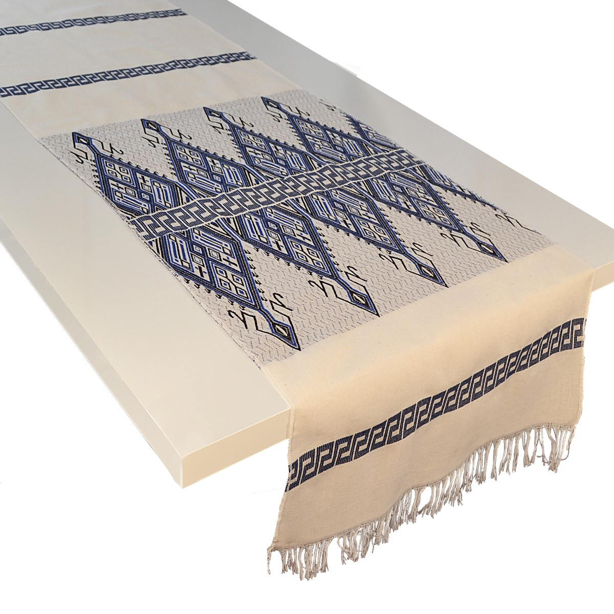 Praesos Jacquard Table Runner, Blue / White, L