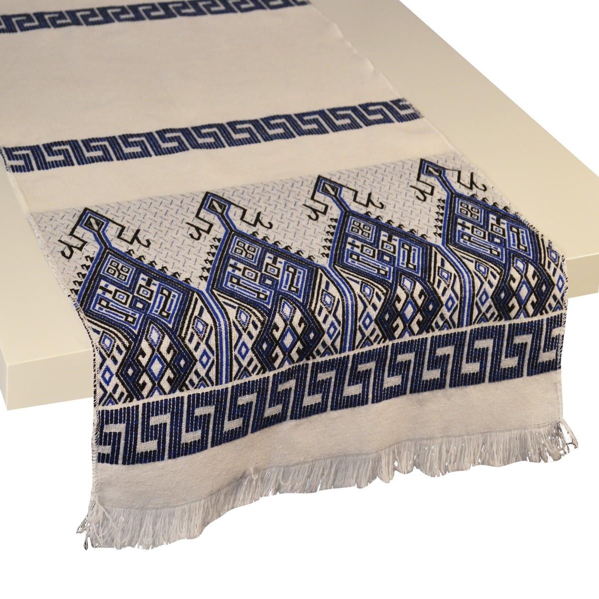 Praesos Jacquard Table Runner, Blue / White, S