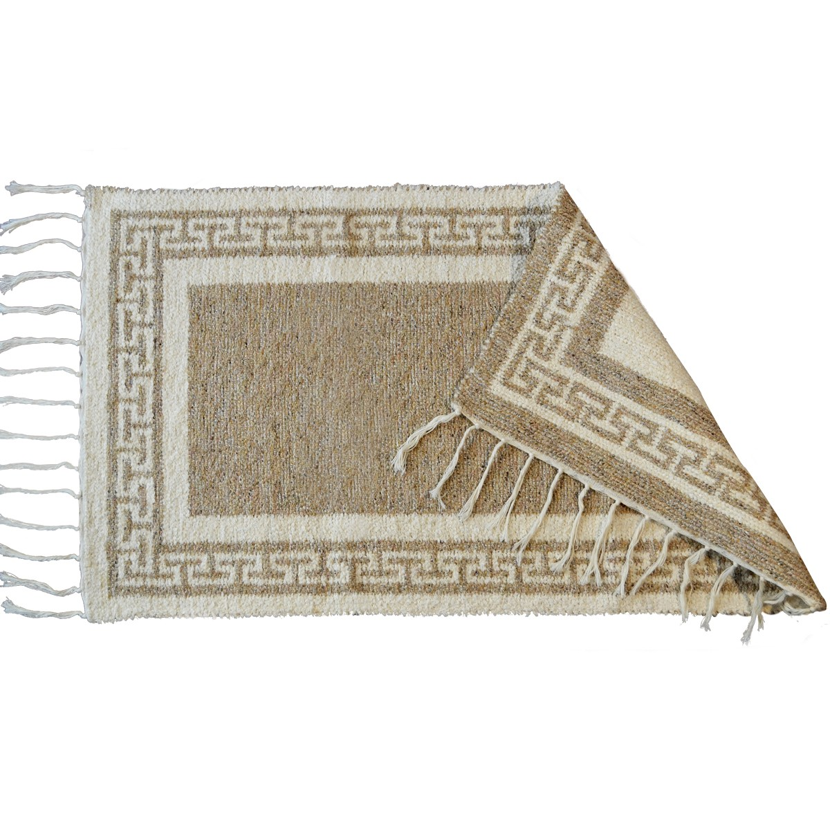 Greek Key Two Sided Cotton Rug, Beige