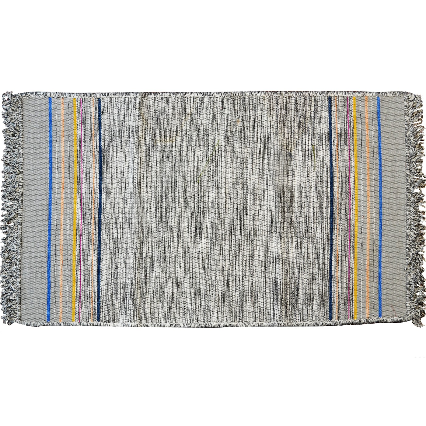 Irregular End Striped Rug, Grey