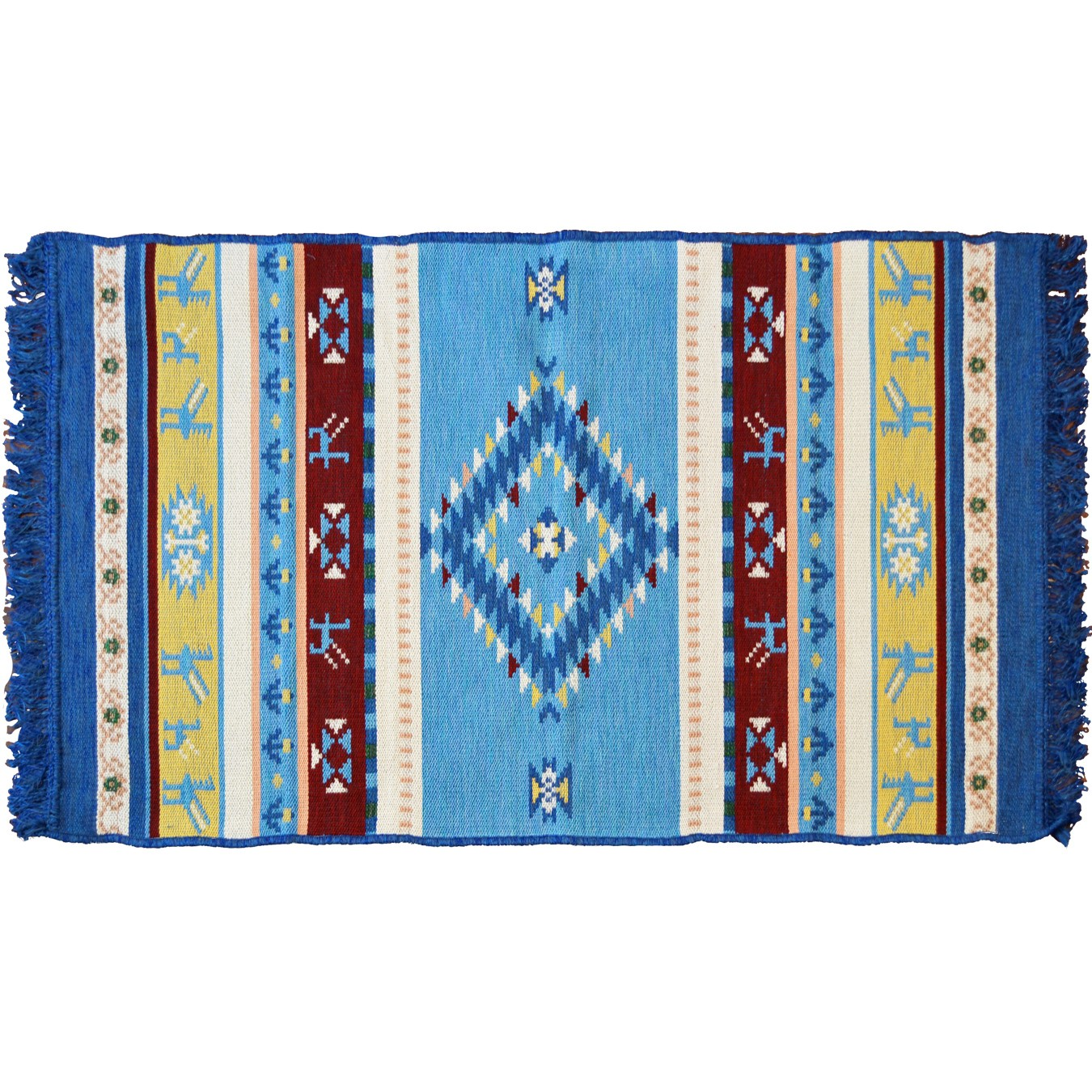 Omfalos Ethnic Rug, Light Blue & Multi