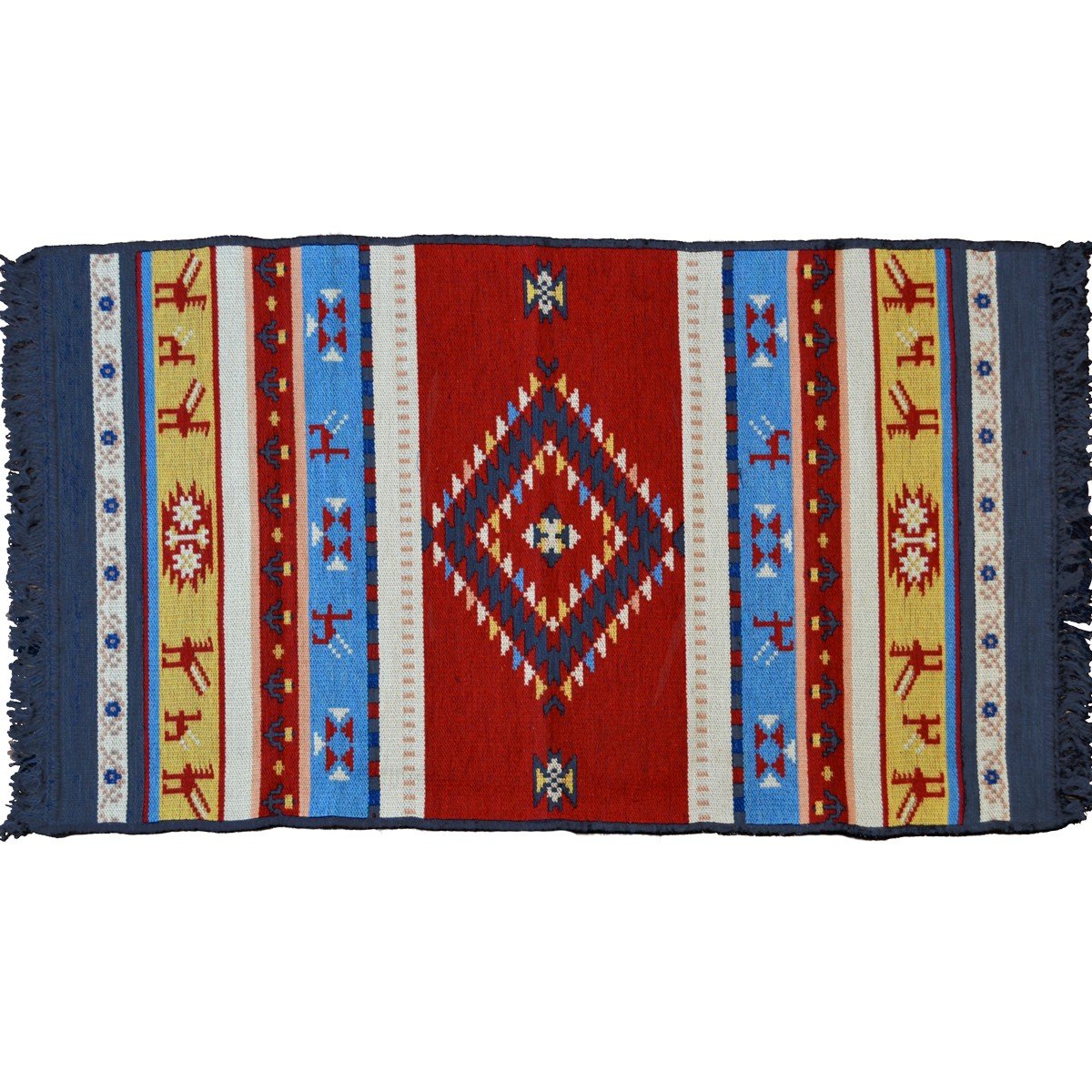 Omfalos Ethnic Carpet, Two Sided, Blue / Multi
