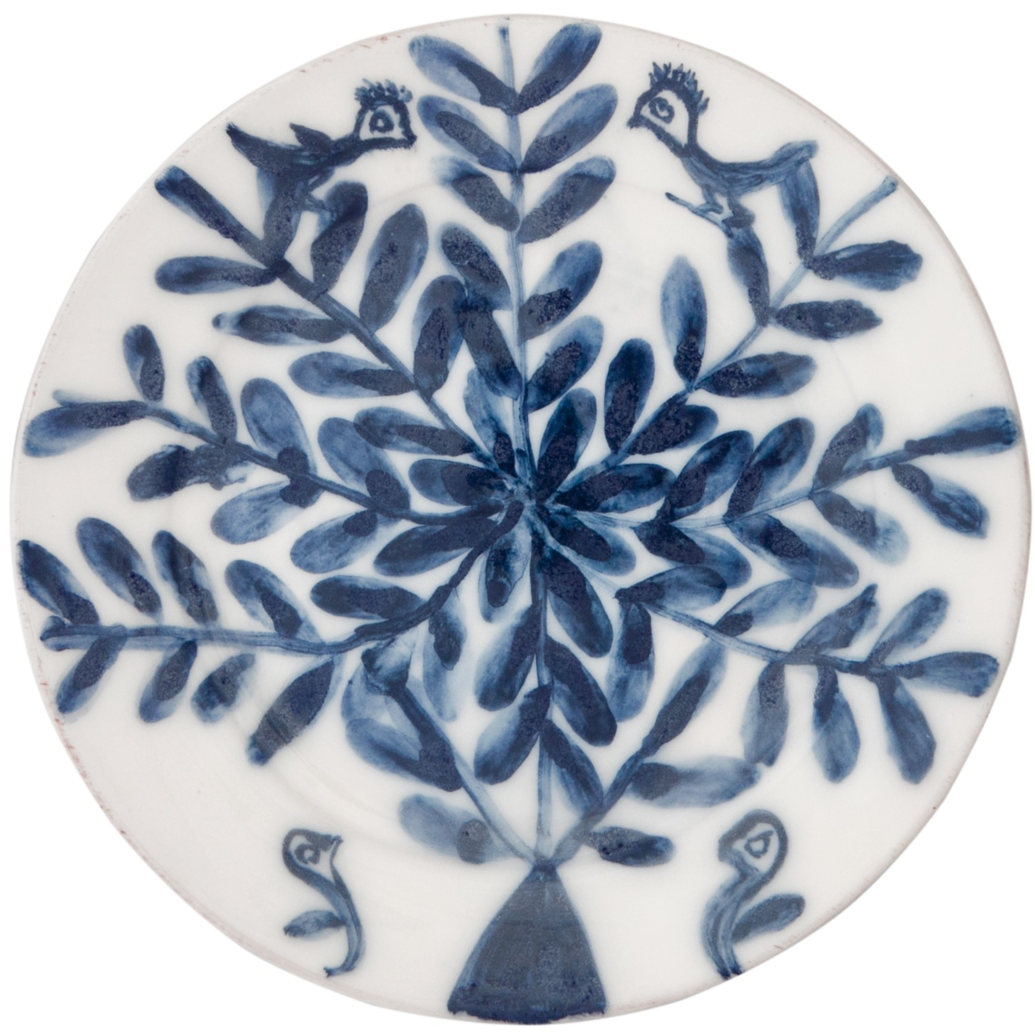 Decorative Blue and White Plates- Flower-1