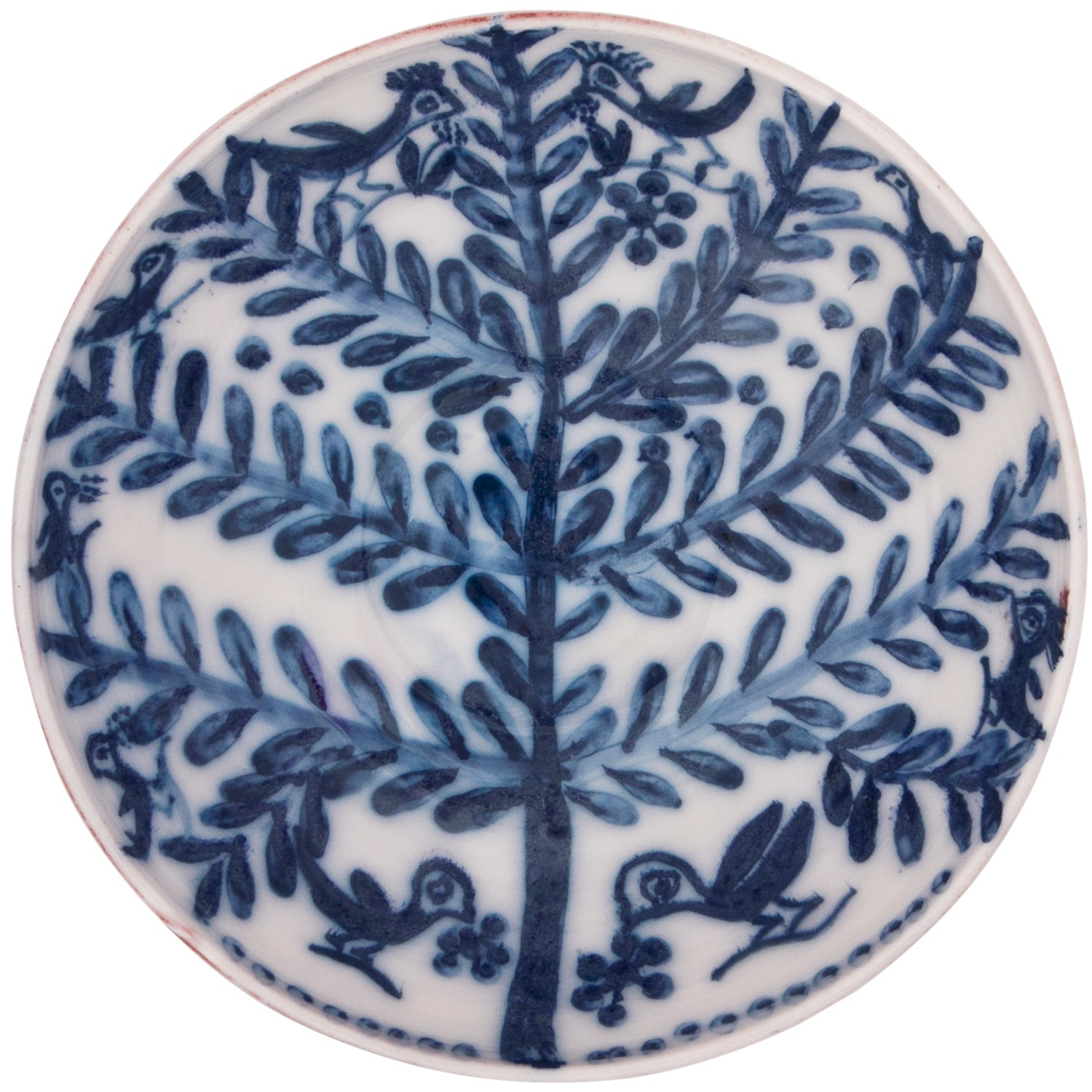 Large Decorative Bowl | Handmade Blue and White Tree with Birds -1