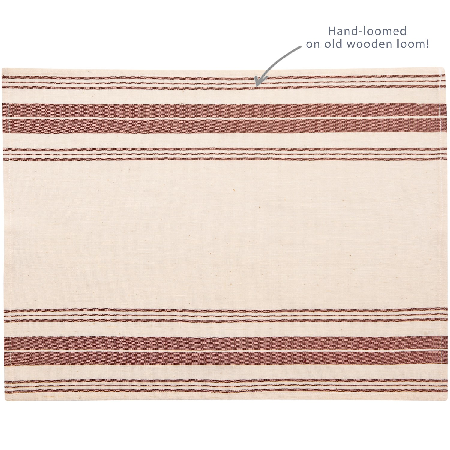 Handcrafted Placemat, Stripes, Aubergine-1