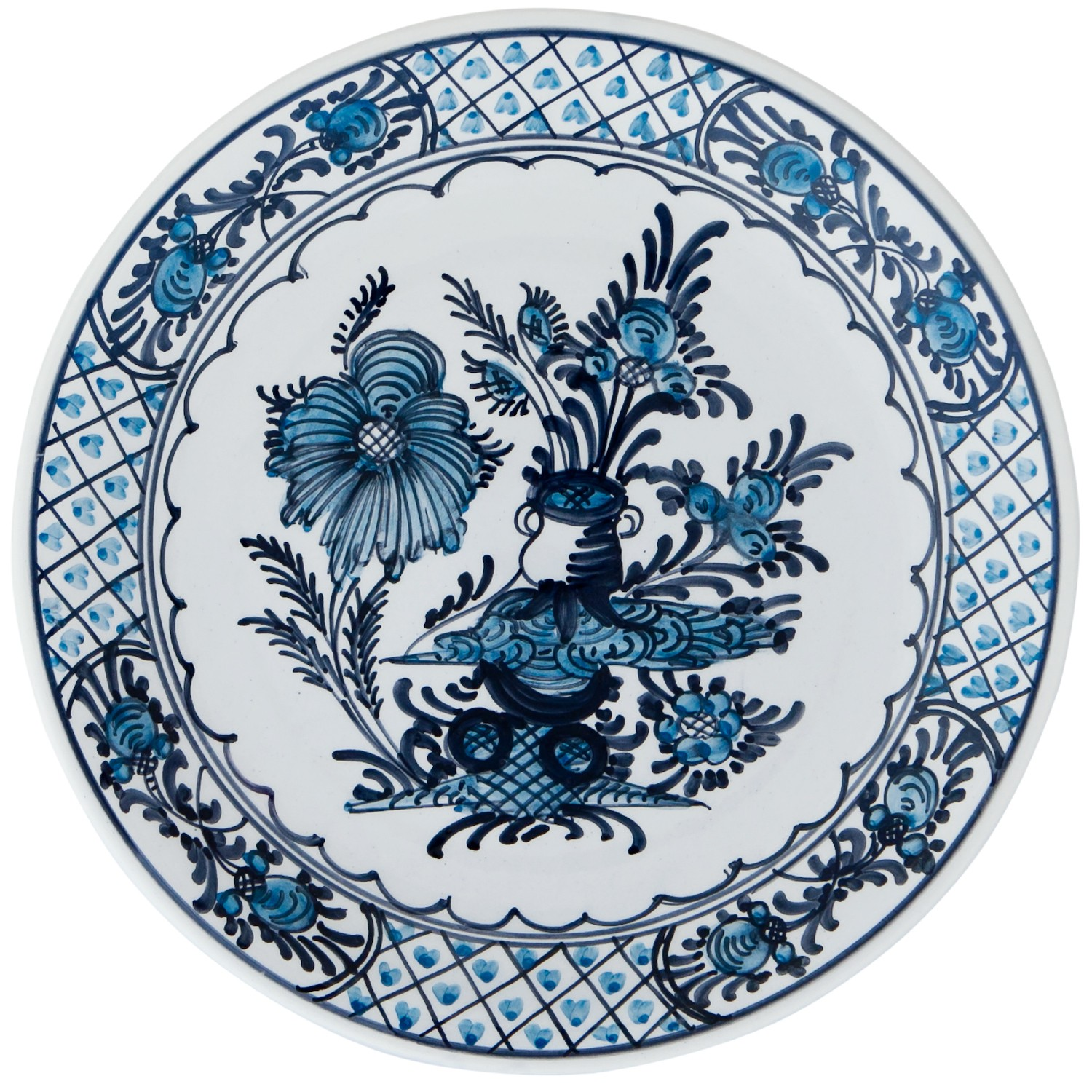 Hand_Painted_Ceramic_Dinner_Decorative_Plates-Garden_Flowers-Blue-White-1