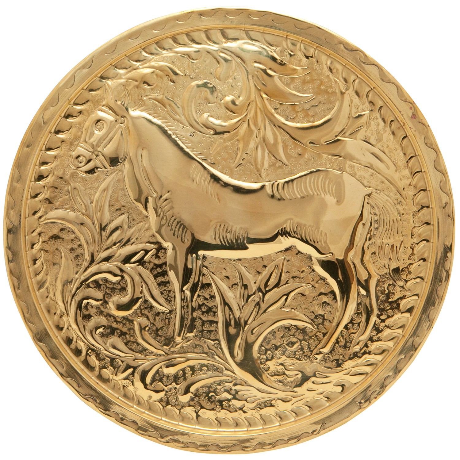 Horse Embossed Brass Tray-1