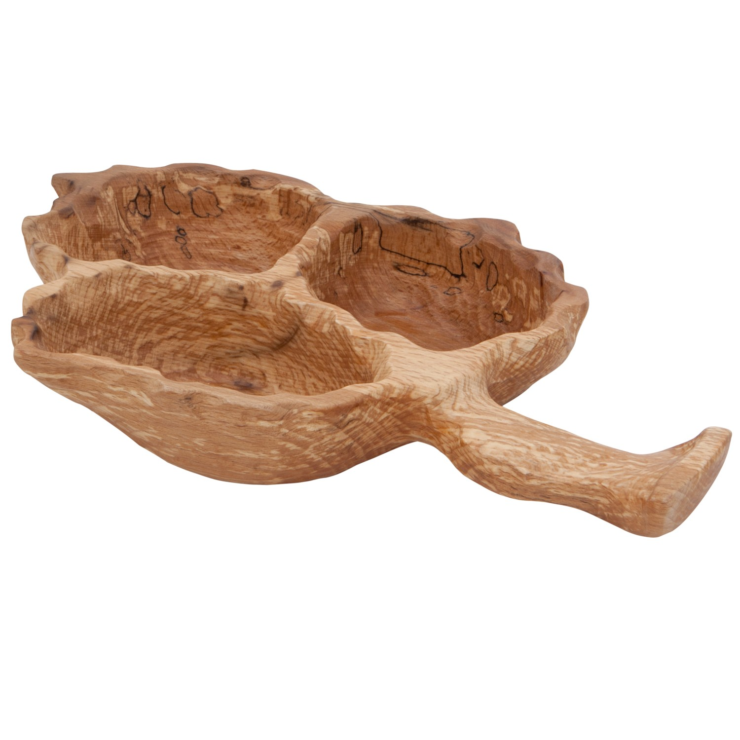 Leaf, Wooden Divided Bowl, 3 Sections-1